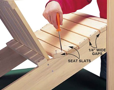 <b>Photo 8: Add the seat slats</b></br> <p>Predrill all the pilot and countersink holes in the seat slats before you position them. Screw the seat slats (J) to the back legs with 1-1/4 in. deck screws (use 1-5/8 in. screws in softwood), spacing them 1/4 in. apart.</p>