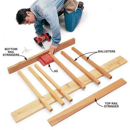 <b>Spacing the balusters</b></br> Start at the center of the rail and work toward the ends, spacing each baluster with the jig. Support the other end of the balusters with a 1-in. thick board. Screw the balusters through the stringer with 3-in. deck screws.