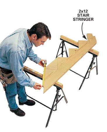 <b>Cut a stair stringer</b></br> Cut a stair stringer as you normally would, leaving it extra long on top. Cut an additional 1-1/2 in. off the top riser to allow for the rim joist. Then cut the stringer where it butts into the second joist.