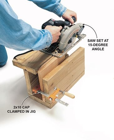 <b>Cutting the cap</b></br> Set the jig fence by clamping a scrap 2x10 (1-1/2 in. x 9-1/4 in. x 9-1/4 in.) to the outer support of the jig. Set your circular saw to a 15-degree angle. Run your saw through the jig. Adjust the fence so your saw blade just cuts through the top of the cap. Set the square 2x10 cap material in the jig and cut the bevel on all four sides. Sand the caps to remove any saw marks.