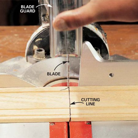 <b>Photo 1: Line up the blade with one side of the mark </b><br/>Lift the blade guard with your thumb and sight down one edge of the blade to align your cut.  <strong>Caution:</strong> Remove your fingers from the switch while you&#39;re aligning the cut. Firmly hold or clamp the workpiece. Then gradually release the blade guard and return your hand to the switch to make your cut.