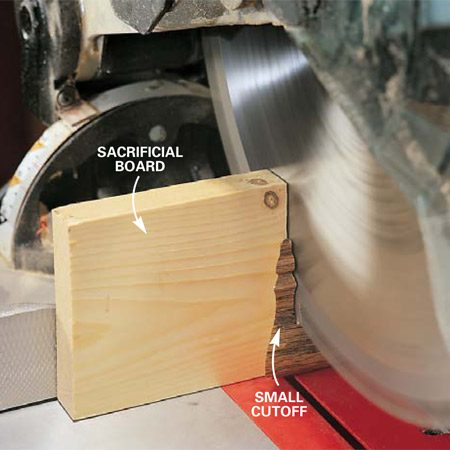 <b>Photo 3: Back up small, delicate pieces </b></br> Back up small pieces with a sacrificial board to prevent the cutoff from being thrown by the blade. Hold the saw down at the end of the cut until the blade comes to a complete stop.