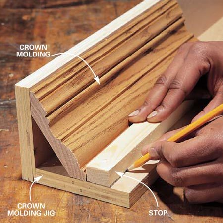 <b>Photo 5: Use a jig for crown molding </b><br/>Construct a jig to hold crown moldings at the correct angle. Set a scrap of your molding upside down in the jig and mark the position of the stop. Screw the stop to the jig. Place all fasteners away from the path of the blade.