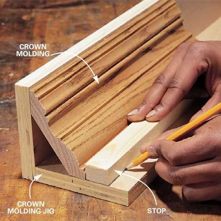 <b>Photo 5: Use a jig for crown molding </b></br> Construct a jig to hold crown moldings at the correct angle. Set a scrap of your molding upside down in the jig and mark the position of the stop. Screw the stop to the jig. Place all fasteners away from the path of the blade.