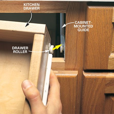 <b>Photo 1: Pull the drawer out</b></br> Remove a kitchen drawer by pulling it fully out of the cabinet, lifting the front edge, and uncoupling the left and right drawer rollers from the cabinet-mounted guides.