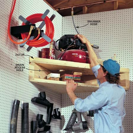 <b>Air compressor loft</b></br> Build this handy corner unit for your air compressor.