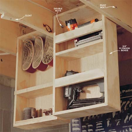 <b>Ceiling drawers</b></br> Suspend the drawers from the ceiling.