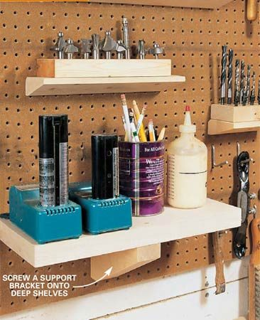 <b>Use Peg-board for shelving</b></br> Peg-Board gives you a ton of space to hang tools.