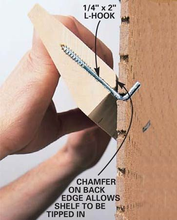 <b>Chamfer the shelves</b></br> Chamfer the top back edge of your homemade shelves for a tight fit.