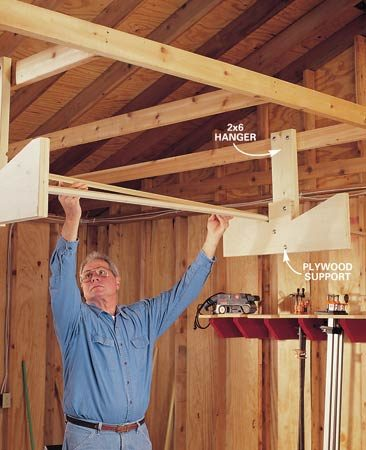 <b>Overhead storage racks</b></br> Overhead storage racks keep materials off the floor and out of your way.