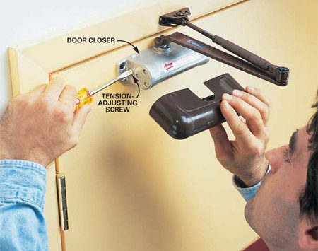 <b>Door closer</b></br> Use a door closer if hinge replacement is not a good option or you need a little more power and control.
