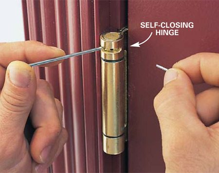 <b>Self-closing hinge</b><br/>Replace two of the existing hinges with self-closing hinges.