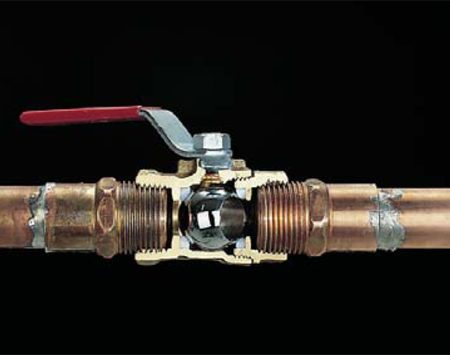 <b>Ball valve</b></br> Ball valves use a stainless steel ball to control water flow.