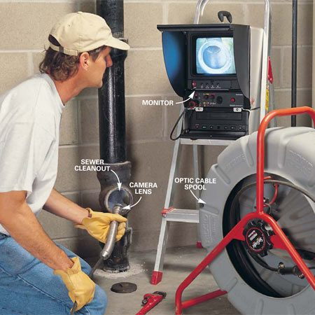 <b>Photo 1: Camera in the pipe</b><br/>A pro can run a camera down the sewer line to determine exactly what&#39;s clogging the pipe.