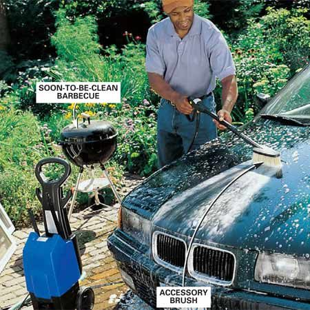 <b>Photo 3: Cleaning cars</b></br> Clean cars and other items with an accessory brush and detergent. First rinse the area with water, then switch to a detergent wash and finish with a rinse.
