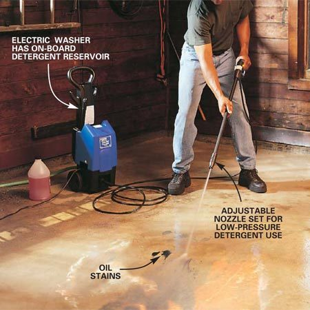<b>Photo 4: Garage floor</b></br> <p>Scour oil and dirt off a garage floor with a detergent:</p> <ol> <li> Rinse surface dirt off the floor at high pressure. </li> <li> Change the nozzle setting to low pressure to dispense detergent.</li> <li> Finish by changing the nozzle back to high pressure and rinsing with water.</li></ol>