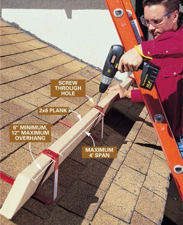 <b>Photo 2: Install the plank</b></br> Lay a 2x6 plank across the brackets and attach it to the brackets with screws. Make sure the 2x6 extends at least 6 in. but not more than 12 in. past the end brackets. Set another row of roof brackets and planks about every 8 ft. up the roof, or as close together as needed to make your work safe and convenient.