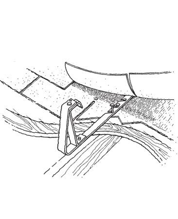 <b>Figure A: Roof bracket nailing</b><br/>Bracket nails must go into roof framing supports below the sheathing.