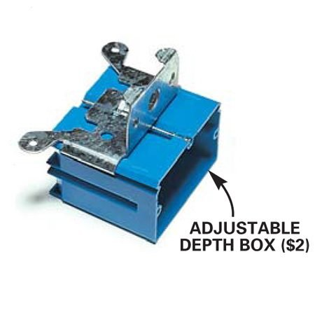 <b>Adjustable depth box close-up</b></br> Adjustable depth boxes cost about $2.