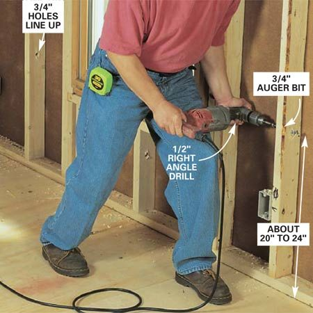 <b>Photo 3: Drill holes in the framing</b></br> Bore 3/4-in. holes through the framing members about 8 in. above the boxes. Center the bit on the stud, brace the drill and apply pressure with your thigh for easier drilling of wall studs.