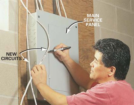 <b>Photo 9: Run cables to the main service panel</b></br> Run cable(s) from your completed circuits to the service panel. Leave 4 extra feet of cable for the electrician to work with. Label the cables with the location of the circuit. Then call in the electrician to connect the circuits.