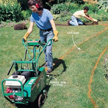 <b>Photo 2: Cut the sod</b></br> Remove the sod in the area of the path with a sod cutter. Set the sod cutter to maximum depth to minimize additional digging. Dig out the path area to about 5 in. deep to allow for 3 in. of sand and 2-in.-thick stone.