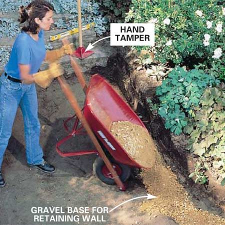 <b>Photo 3: Use a gravel base for the wall </b></br> Pour and pack gravel into an 8-in.-deep trench for the retaining wall footing only. Spread the gravel in 2-in. layers, packing each layer with a hand tamper before adding the next. Use a level and straightedge to level the final layer before you pack it down.