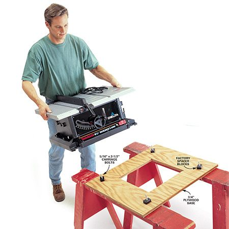 <b>Plywood base</b></br> <p>The plywood widens the base making the saw more stable. Plus you can quickly screw the plywood down to sawhorses, benchtops or other places you set the saw.</p>