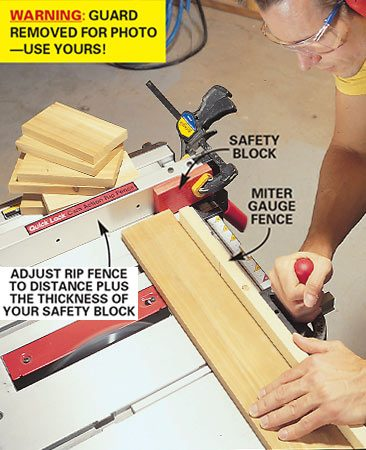 <b>Cut-off block for duplicate lengths</b></br> <p>Clamped block allows you to make repetitive crosscuts without risking a kickback. <strong>Caution:</strong> We removed the blade guard for this photo; use yours!</p>