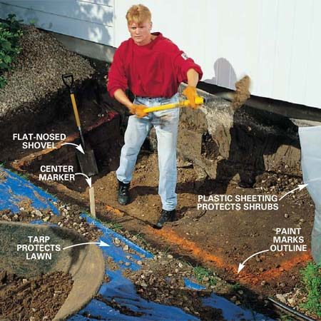 <b>Photo 1: Lay out the dimensions and start digging</b></br> Drive a stake for a center marker and mark an outline for each layer with spray paint. Dig each shelf about 17 in. deep and 12 in. wide (Fig. A). This will leave room for about 8 in. of gravel behind the wall. Protect your lawn with a tarp.