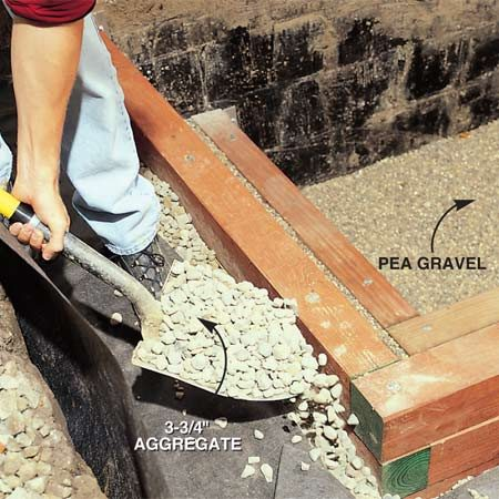 <b>Photo 11: Backfill with aggregate and gravel</b><br/>Backfill behind the timber walls with 3/4-in. aggregate, capping it with a 3- to 4-in. layer of pea gravel for the next wall. The larger aggregate will promote drainage.