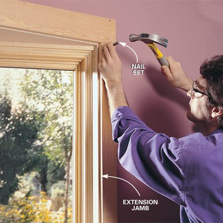 <b>Photo 17: Trim the interior</b></br> Cut the interior trim and nail it in place, using a nail set to sink nailheads below the surface of the wood. Apply one coat of finish, fill the nail holes with putty that matches the wood color, then apply a second coat of finish. Our trim and cabinets are Douglas fir, finished with a lightly tinted polyurethane.