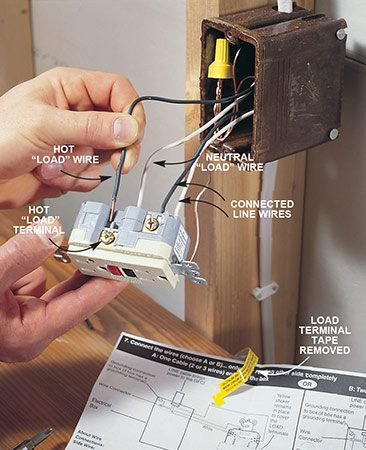 "<b>Photo 3: Connect other outlets</b></br> <p>Remove the tape covering the ""load"" terminals and connect the wires leading to another outlet or outlets to these terminals. Again, the white neutral terminal will be marked. Fold the wires back into the box and screw on the GFCI and cover plate.</p>"