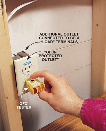 "<b>Photo 4: Label the outlets</b></br> <p>Attach the ""GFCI-protected outlet"" label to downstream outlets. Test the downstream outlet by plugging in the GFCI tester and pressing the test button. The lights on the tester should go out. Press the reset button on the GFCI to reenergize the outlet.</p>"