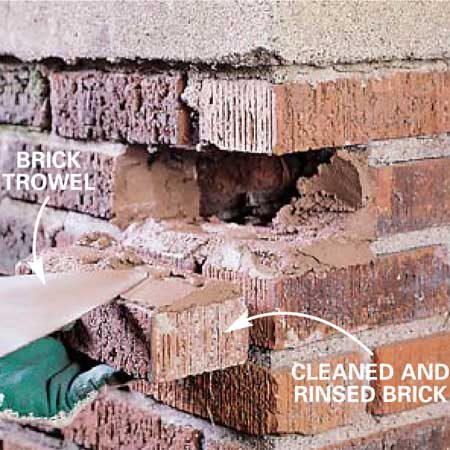 <b>Photo 3: Apply new mortar</b></br> Apply a 1/2-in. layer of mortar to the bottom, both sides of the cavity and the top of the brick. Slide the brick into the cavity.