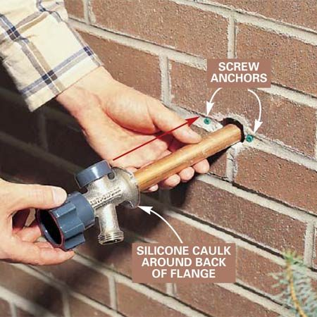 <b>Photo 4: Insert the new sill cock</b></br> Bore a 1-1/8 in. hole (if the hole needs enlarging) for the new sill cock using a masonry hole saw. Dry-fit the sill cock in an upright position tight against the wall and mark the location of the fastening holes. Drill two 1/4-in. holes with a masonry drill bit and push the plastic screw anchors in flush to the wall. Apply a thick bead of clear silicone around the back of the sill cock flange, push it against the wall and fasten it with two 1-1/4 in. No. 8 roundhead brass screws.