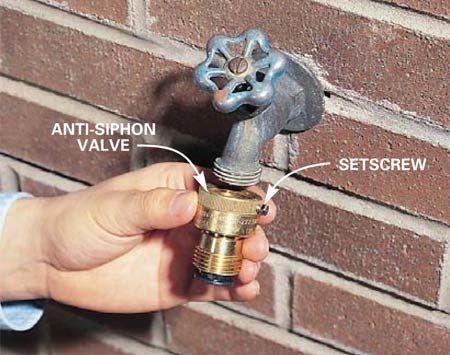 Photo 8: Anti-siphon valve screwed to standard<br/> sill cock.