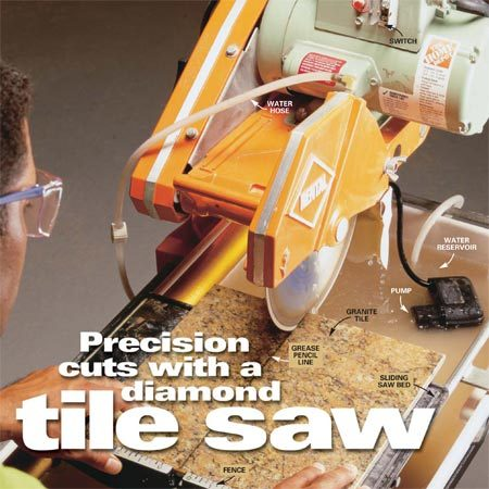 <b>Photo 1: Basic square cuts</b></br> Mark the tile with a lead or grease pencil. Set the tile against the fence on the sliding saw bed and line up the diamond blade with the cutting mark. Turn on the saw and wait for water to flow over the blade. Hold the tile on both sides of the cutting line and slowly feed it into the blade. As the cut nears completion, gently push the two halves of the tile together to prevent the tile from breaking before the cut is complete. When the cut is complete, carefully slide the bed and cut tile back toward you until the tile is clear of the blade.