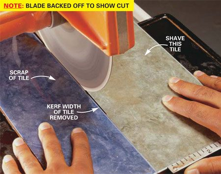 <b>Photo 8: Slice a sliver</b></br> Butt a scrap of tile against the edge of the tile you want to trim. Push both pieces through the blade, using the basic cutting technique (Photo 1). Repeat this process until you've trimmed enough. Each pass will remove 1/8 in. or less.