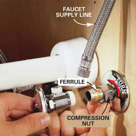<b>Photo 3: Install the new valve</b></br> Slide the compression nut, then the ferrule, onto the copper water pipe. Lubricate the compression threads with a small amount of pipe dope. Tighten until firm with a pair of adjustable wrenches and then turn the wrench an additional 180 degrees. Reconnect the faucet supply line after the shutoff valve is in place.