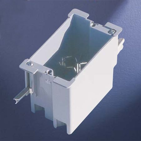 """<b>New remodeling box</b></br> <p>A remodeling box has """"wings"""" which open  and clamp the box to the drywall. Cut your hole to exactly fit the box.</p>"""