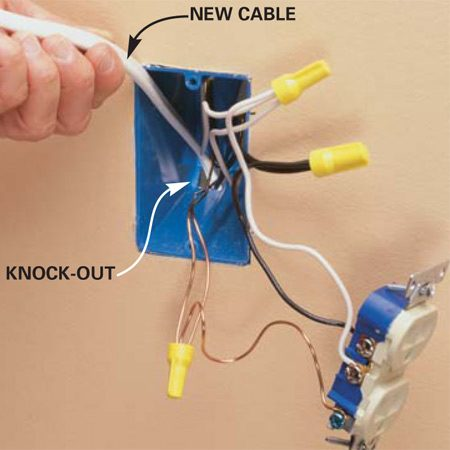 <b>Photo 2: Feed new cable into the wall</b><br/>FEED a length of new cable through one of the knock-out holes at the back of the existing box (punch out the hole with a screwdriver). Feed through enough cable to reach the new box (Photo 4), plus an extra foot. Use 14-gauge wire for a 15-amp circuit.