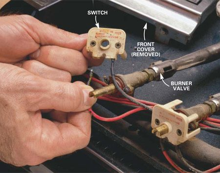 <b>Photo 1: Switch replacement</b></br> Pull off the burner dials and remove any screws that secure the front cover. Remove the cover. Slide the wires off the terminals and insert them into the new switch in the same location. Some connections have a pressure clamp to secure the wire (Photo 2).