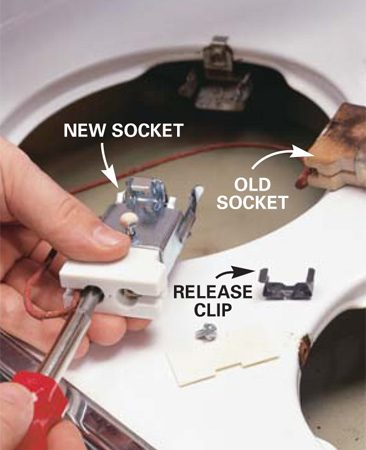 <b>Photo 3: Replace a bad socket</b></br> <p>Replace a scorched socket by removing the screws that secure it to the range top. Then  unscrew the range wires and screw them to the terminals on the new socket. </p>