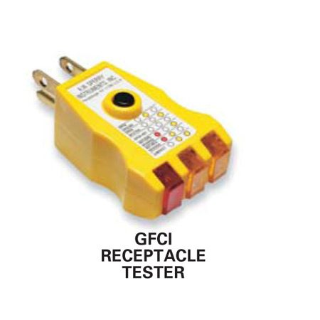 <b>GFCI tester</b></br> Use a GFCI tester to make sure the outlet at the house is GFCI protected.