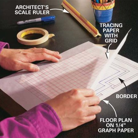 <b>Photo 1: Draw a scale plan</b><br/>Draw a scale plan (1 ft. equals 1/2 in.) of your kitchen on graph paper and add the border. Draw a grid of1/2-in. squares on tracing paper. Shift the tracing paper around on top of the plan to see how varying the layout affects the width of the partial tiles along the border.