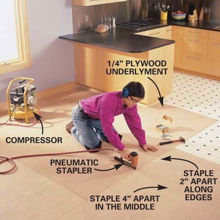 <b>Photo 3: Install underlayment</b></br> Fasten a layer of 1/4-in. plywood underlayment to the old floor with 7/8-in. narrow crown staples using a rented pneumatic stapler. Place staples 4 in. apart in the center of the sheet and 2 in. apart along seams and edges. Stagger the seams, laying full sheets if possible.
