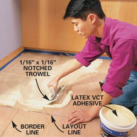 <b>Photo 6: Apply the adhesive</b><br/>Spread a thin, even layer of VCT adhesive with a 1/16-in. x 1/16-in. notched trowel. Spread glue over half the floor, starting at the wall and working up to the center layout line. Allow the glue to dry until it&#39;s clear and tacky.