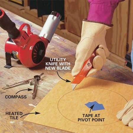 <b>Photo 13: Cut a circle from the hot tile</b></br> Cut a circle from the hot tile by deeply scoring the line with a utility knife. BEND the tile (reheat if necessary) and peel the cutout shape from the surrounding tile. Smooth the rough edge of the circle with 60-grit sandpaper, beveling it slightly to the back side.