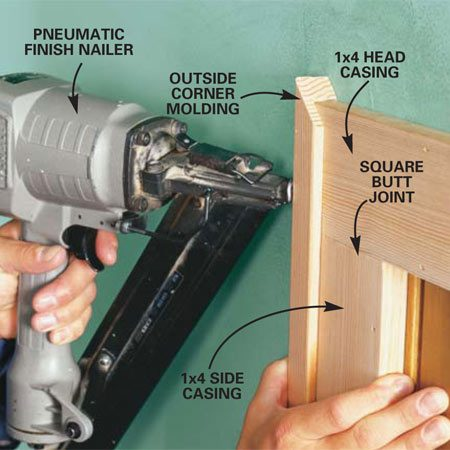 <b>Photo 2: Install new trim</b></br> Nail new 1x4 trim around doors and windows. Use 1-1/2 in. nails to attach the 1x4 to the door frame and 2-in. nails along the outside edge. Miter and nail outside corner molding to the trim with 1-in. finish nails.
